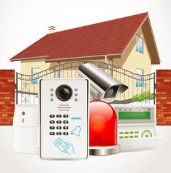 Ein Bewegungsmelder, ein elektronische Türsicherung, eine Überwachungskamera und eine Alarmanlage sind symbolhaft für vernetzten elektronischen Einbruchschutz vor einem Smart House abgebildet.